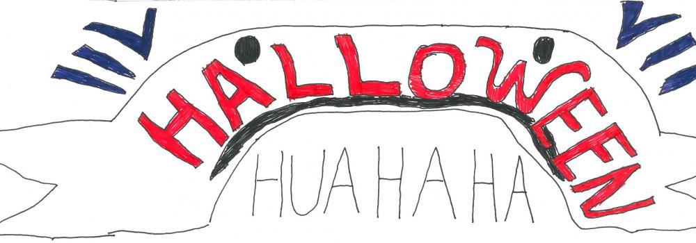 Halloween Comic Banner mit roten Halloween Schriftzug