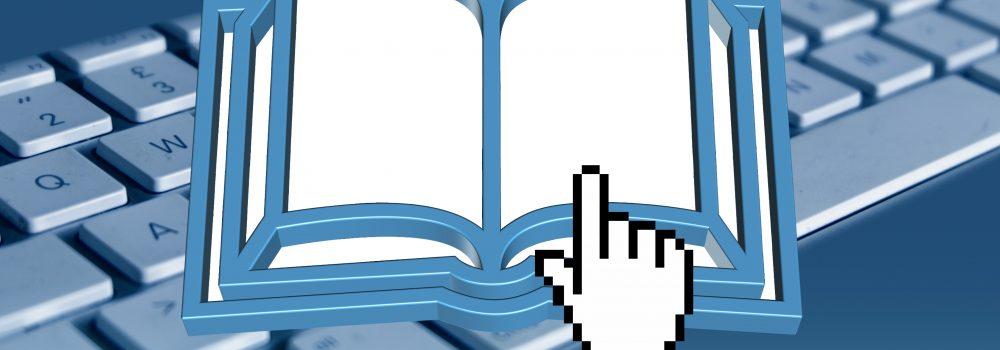 Grafik mit einem Buch vor einer Tastatur